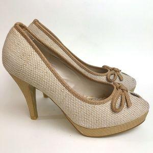 Charming Charlie Rafia Peep Toe Pin Up Heels